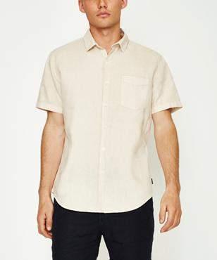 Arvust Grover Linen Short Sleeve Shirt Coffee