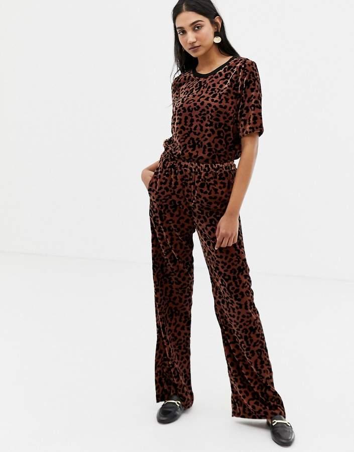 Velvet Leopard Print Wide Leg Trousers