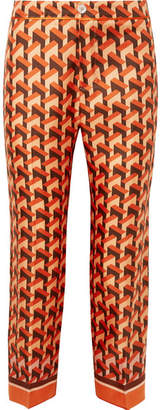 F.R.S For Restless Sleepers Ceo Printed Silk-twill Straight-leg Pants