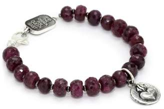 """King Baby Studio Coin"""" Heart with 7mm Ruby Bracelet"""