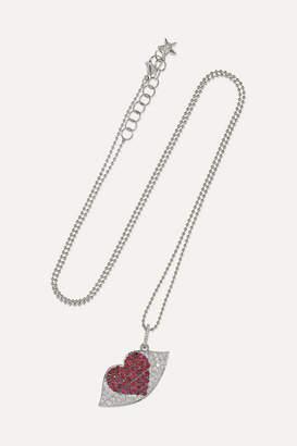 Ofira - Kiss Me 18-karat White Gold, Diamond And Ruby Necklace