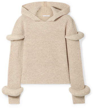 J.W.Anderson Hooded Ribbed Wool And Alpaca-blend Sweater - Beige
