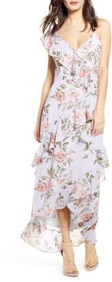 WAYF Morgana Floral Tiered Ruffle Asymmetrical Sleeve Maxi Dress