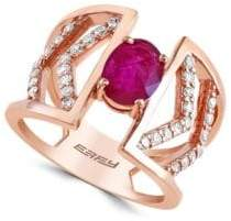 Effy Final Call Diamonds, Natural Mozambique Ruby and 14K Rose Gold Ring