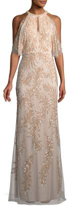 Aidan Mattox Embellished Sequin Cold-Shoulder Gown