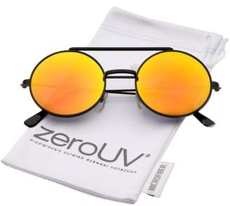1868fea92bb Zerouv Mid Size Flip-Up Colored Mirror Lens Round Django Sunglasses 49mm (  Orange