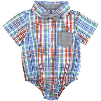 G-Cutee Little Boys Blue and Orange Plaid Shirt with DetachableChambray Bowtie, Available in Size 4-7