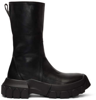 Rick Owens Black Tractor Zipped Boots