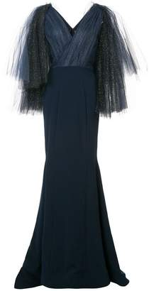 Christian Siriano embellished tulle sleeve gown