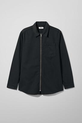 Weekday Zip Shirt Tuned Black - Black