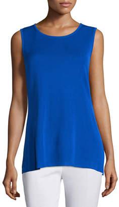 Misook Crewneck Long Knit Tank Top, True Blue, Plus Size
