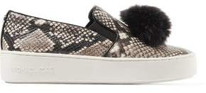 Michael Kors Faux Fur-Trimmed Snake-Effect Leather Slip-On Sneakers