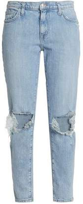 Current/Elliott Nova Distressed Mid-Rise Slim-Leg Jeans