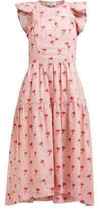 Sea Ruffled Floral Print Cotton Midi Dress - Womens - Pink Multi