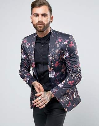 ASOS Super Skinny Blazer With Floral Print $121 thestylecure.com