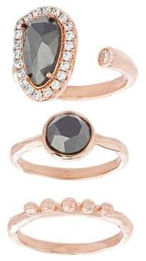 Lord & Taylor NES Jewelry Hematite, Crystal, 18K Rose Gold and Sterling Silver Oval, Round and Polished Triple Ring Set