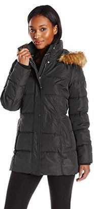 Tommy Hilfiger Women's Short Down with Fur Trim Hood $240 thestylecure.com