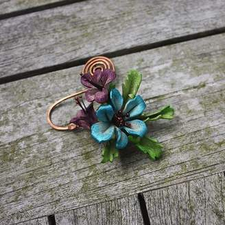 Tanglefrost Leather Blossom Copper Spiral Scarf Pin