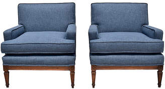 One Kings Lane Vintage French Indigo Neoclassical Chairs - Set of 2 - Cannery Row Home