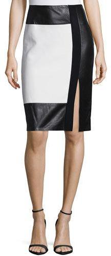 Ralph Lauren Collection Colorblock Leather-Inset Pencil Skirt, Cream/Black