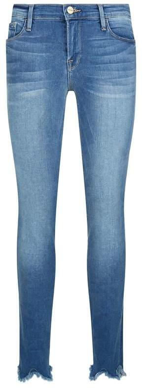 Skinny Fit Jagged Hem Jeans