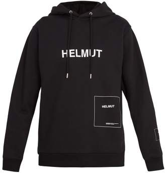 Helmut Lang Logo Printed Hooded Sweatshirt - Mens - Black