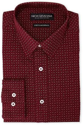 Nick Graham Burgundy Paisley & Dot Modern Fit Dress Shirt