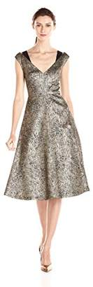 Tracy Reese Women's Antique Gold Stretch Lame Fit and Flare Frock Dress $443.47 thestylecure.com