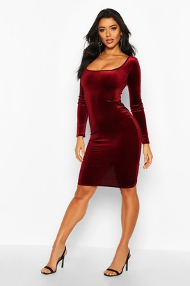 boohoo Velvet Square Neck Long Sleeve Midi Dress
