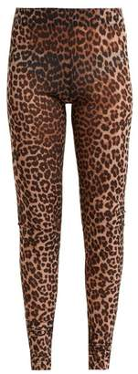 Ganni Tilden Leopard Print Mesh Leggings - Womens - Leopard