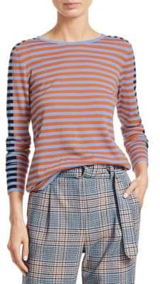 Akris Punto Tricolor Stripe Wool Top