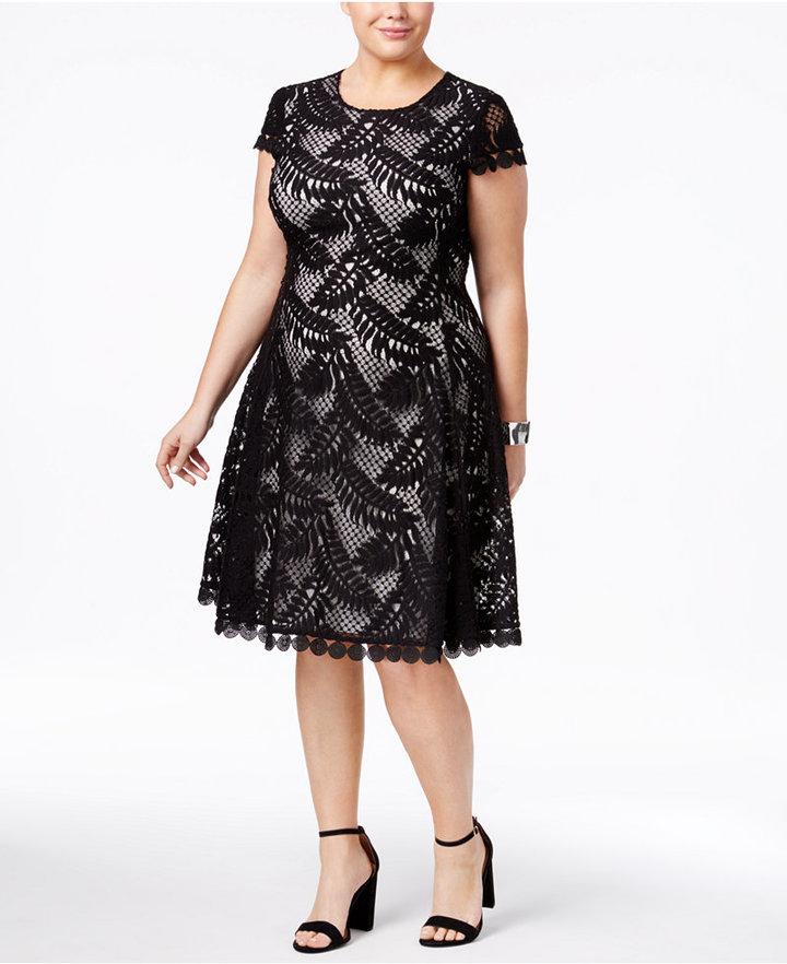 AlfaniAlfani Plus Size Lace Fit & Flare Dress, Only at Macy's