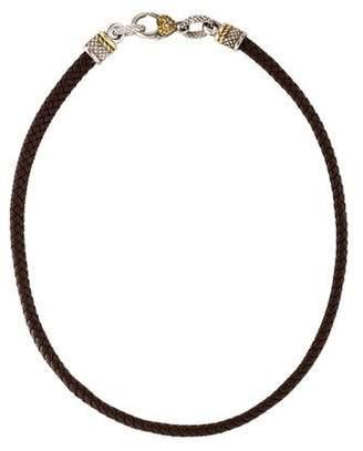Judith Ripka Diamond & Braided Leather Choker Necklace