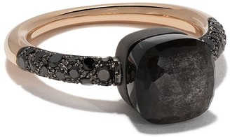 Pomellato 18kt rose gold and titanium Nudo obsidian and black diamond ring