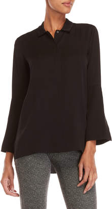 Halston Black Long Cuff Shirt