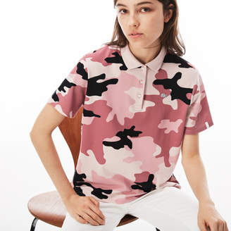 Lacoste Women's LIVE Loose Fit Camouflage Pique Polo