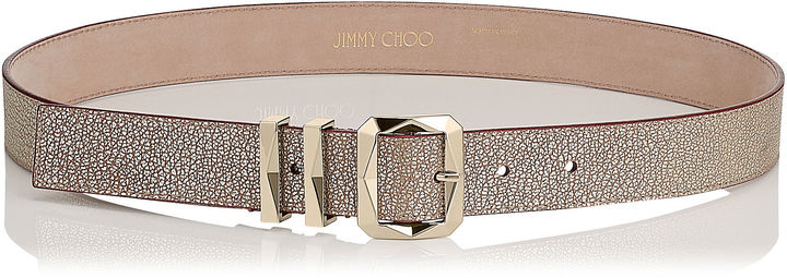 Jimmy Choo BLITZ Champagne Leather Belt
