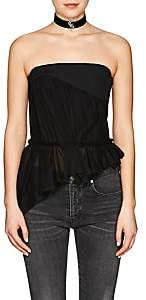 Saint Laurent Women's Asymmetric-Hem Canvas & Voile Bustier - Black