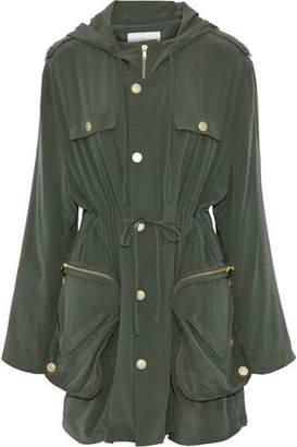 Pierre Balmain Silk-Crepe Hooded Jacket