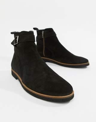 WALK LONDON WALK London Hornchurch buckle chelsea boots in black suede