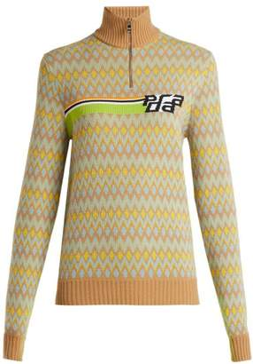 Prada - Logo Intarsia Wool Blend Sweater - Womens - Multi