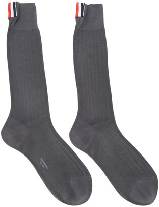 Thom Browne Grey Ribbed Socks $90 thestylecure.com