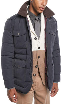 Brunello Cucinelli Men's Padded Technical Puffer Jacket with Shearling Trim