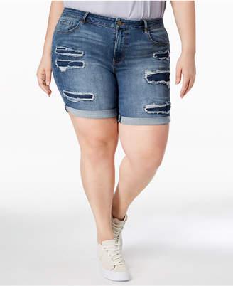 William Rast Plus Size Distressed Raw-Hem Bermuda Shorts