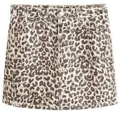 MANGO Leopard denim miniskirt