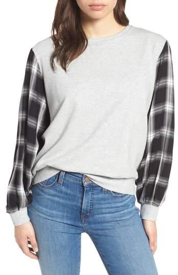Vince Camuto Plaid Sleeve Sweatshirt