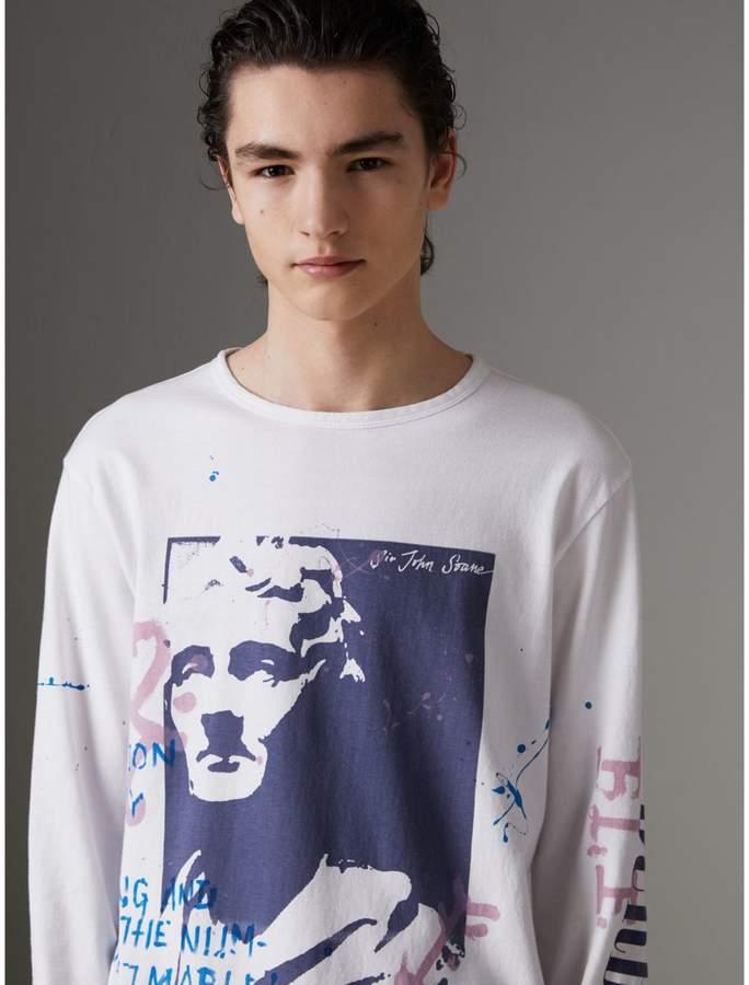Baumwolloberteil mit Porträt-Druckmotiv