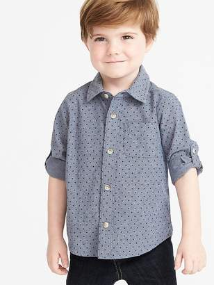 Old Navy Dot-Pattern Roll-Sleeve Oxford Shirt for Toddler Boys