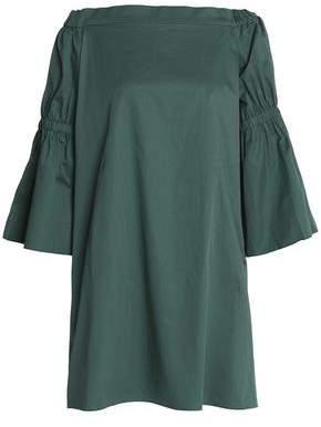 Tibi Off-The-Shoulder Shirred Cotton-Poplin Mini Dress