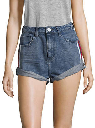 One Teaspoon Striped Side High-Waisted Denim Shorts